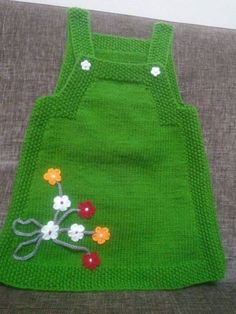 "HUZUR+SOKAĞI+(Yaşamaya+Değer+Hobiler) ""Nice knitted green dress with flowers for our little girls ."", ""Ravelry: Project Gallery for Junior pattern by DR Easy Knitting Patterns, Knitting For Kids, Baby Knitting, Crochet Baby, Knit Crochet, Knit Baby Dress, Knitted Baby Clothes, Knitted Hats, Baby Knits"