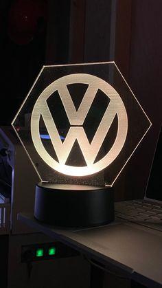 Engraved LED light on 4mm Acrylic. | Etsy Slide Design, Volkswagen Logo, Vw Conversions, Novelty Lighting, Battery Lights, Name Design, Interior Lighting, Usb, Light Up