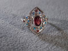 Vintage Sterling Silver 9 Round Oval  Garnet 16 Round  Opal Filigree Scroll Etched Victorian Style  Band Ring, Size 6.5