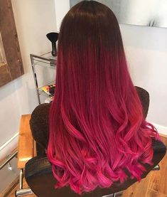 Amazing 59 Amazing Dyed Hair for Winter Style glamissecom/… - Ombre Hair Ombre Hair Color For Brunettes, Pink Ombre Hair, Brown Ombre Hair, Brunette Color, Red Ombre, Violet Hair, Burgundy Hair, Hair Dye Colors, Red Hair Color