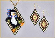 Penguin Pendant and Earrings Brick Stitch Patterns by Kristy Zgoda Peyote Patterns, Bracelet Patterns, Beading Patterns, Stitch Patterns, Art Patterns, Loom Patterns, Canvas Patterns, Beading Tutorials, Beaded Earrings Native