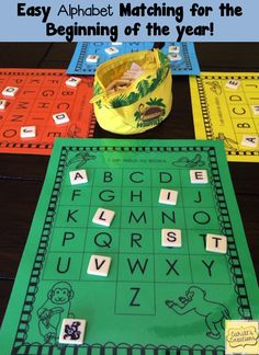 This game makes a great addition to any literacy center for the beginning of kindergarten!  https://www.teacherspayteachers.com/Product/First-Week-of-Kindergarten-1987863