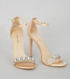 Gold Satin Crystal Embellished Sandals