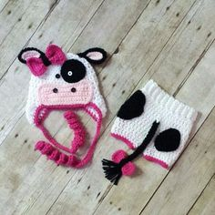 Crochet Baby Cow Hat Diaper Cover Shorts Pants Set Newborn Infant  Photography Photo Prop Handmade Baby Shower Gift 05ba1e791cd4