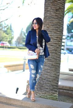 Classic look with rose gold accents, Vince blazer in navy blue, 7 for all mankind distressed boyfriend denim, BCBG rose gold sandals with spike and ankle straps, Rose gold Ted Baker crossbody bag with chain strap, Ray-ban classic gold aviator, chic winter outfit.