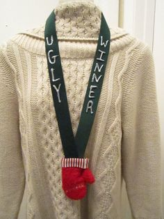 Ugly Christmas sweater reward! Love this for parties. I would use gold silver and bronze colored bows for the top 3 places