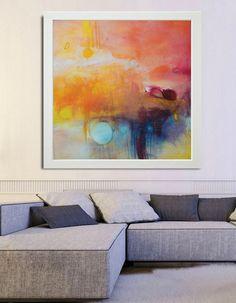 Pintura abstracta melocotón pintura Naranja abstracto