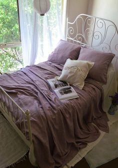 Faded Lilac Rustic Rough Linen duvet cover. Heavy Weight