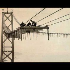 The Golden Gate Bridge under construction, 1993.  Hair-raising! (image via @7X7)