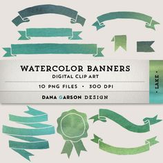 Watercolor Ribbon Banners for invites, printing, scrapbooking, digital collage, clip art, ClipArt, commercial use, blue, green