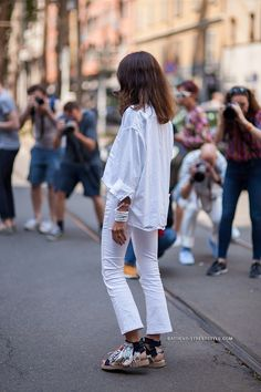 white cropped jeans  + sandals