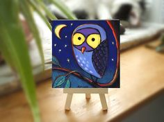 Whimsical Painting Patterns | Owl Painting, Whimsical, Cute 4x4 on Panel