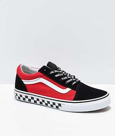 bab983a9962c Vans Old Skool Logo Pop Red Skate Shoes Vans Off The Wall