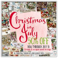 All Christmas themed products are 50% for a limited time in July 2018.  @ E-scapeandscrap.net