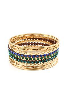 Celeste Bracelet Set in Blue Tri Tones
