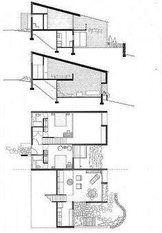Hillside house Harry Seidler & Associates: Hillside Housing Make the Right move America is alway Architecture Plan, Residential Architecture, Houses On Slopes, Hillside House, House On A Hill, Home Design Plans, Small House Plans, House Layouts, How To Plan