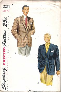 """Vintage 1947  Simplicity 2251 Men's Jacket Sewing Pattern Size 42 Chest 42"""" UNCUT by Recycledelic1 on Etsy"""