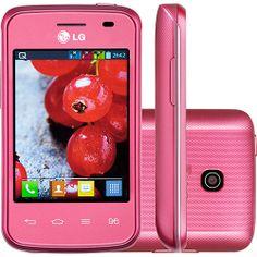 Smartphone Tri Chip LG Optimus L1 II Tri E475 Desbloqueado Rosa Android 4.1, 3G, Câmera 2MP, Memória Interna 4GB, GPS.
