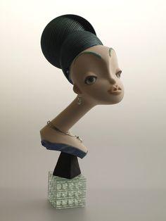 """Chocolat Green"" doll made from Ceramic and Multi Media by Keiko Araki."