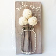 Make A Wish Rustic Dandelion Mason Jar String Art, string art, rustic decor, make a wish, blowing dandelions, dandelions