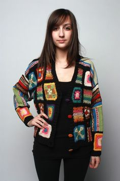 granny square cardigan - I wonder if I could find an old blanket to make on from? Reminds me of my grandma, I'd love to wear one like this.