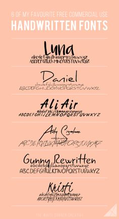 6 of My Favourite Free Handwritten Fonts - The White Corner Creative