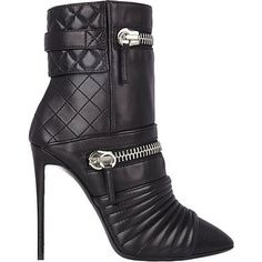 Pre-owned Giuseppe Zanotti Black Quilted Leather Zip Up Moto Ankle... ($600) ❤ liked on Polyvore featuring shoes, boots, ankle booties, black, black boots, ankle boots, short boots, black shootie and bootie boots