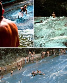 Zoom down 60 feet of smooth rock into an icy-cold mountain-fed swimming hole at Sliding Rock, located off the Blue Ridge Parkway in Brevard, North Carolina. A long-popular 'natural water park' for locals, stairs and a handrail leading to the top have been added in recent years and lifeguards keep watch during the summer for safety. The pool at the bottom is 6-7 feet deep.