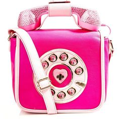 Betsey Johnson Pink Telephone Purse (6.985 RUB) ❤ liked on Polyvore featuring bags, handbags, shoulder bags, crossbody shoulder bags, purse pouch, pink shoulder handbags, pink handbags and cross-body handbag