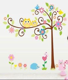 Cute Owls in a tree wall decal sticker baby nursery boy girl room home decor