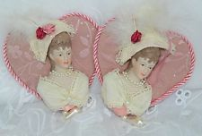 Set of 2 Victorian Lady Heart Christmas Ornaments Pink Fabric Porcelain Feather