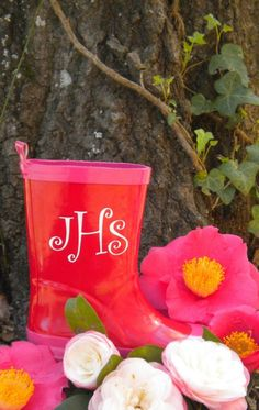 Vinyl monogram sticker on rain boots? Great idea!  Might need to see if Paula can get me some letters!!