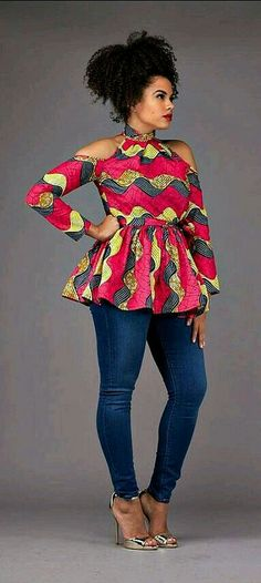 Day chitenge top, to Wear with a jean trousers kanyget fashions +