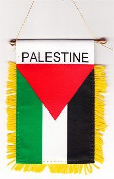 """Palestine - Window Hanging Flag by Flagline. $2.75. 4"""" x 6"""" Fringed Window Hanging Flag. We are pleased to provide a selection of window-hanging flags, perfect for display in your vehicle. These are approx. 4.5"""" x 4"""" flags with fringed edges and a gold rope which attaches to the supplied suction hanger, or mounts directly over your rear-view mirror.. Save 30% Off!"""