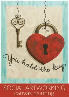 Social Artworking: You Hold the Key | Love padlocks are an age-old way to show your devotion to someone. Create the same sentiment with this lock and key painting. Add your names to the heart lock to seal your fates together for a personal touch. Heart Painting, Couple Painting, Painting On Wood, Painting & Drawing, Key Drawings, Pencil Drawings, Heart Art, Key To My Heart, Heart Patterns