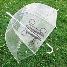 Monogrammed Umbrella Personalized Umbrella Clear Dome Umbrella Personalized Gift Bride Bridesmaid Shower Gift Wedding Gift by customvinylbydesign on Etsy