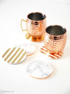 DIY Metallic Foil & Marble Coasters - BirdsParty.com