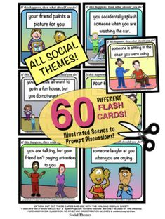 "★NEW★ *60 DIFFERENT ILLUSTRATED CARDS ALL With SOCIAL LANGUAGE Themes!*  PROBLEM SOLVING ILLUSTRATED! ""If This Happens, Then What Should You Do?""  This set has:  ★ 60 Different Illustrated Flash Cards!  ★ TWO CARD SIZES INCLUDED: Medium (6 per page) AND LARGE (2 per page)!  ★ 50 Total SpeechPages In This Combo Set!  ★ 8 DIFFERENT HELPER PAGES! PLUS: MANY Additional WH-TYPE Question Prompt Suggestions! Social Topics, Social Themes, Safety Topics, All Themes, Life Problems, Mega Pack, Laugh At Yourself, Magic Words, Picture Cards"
