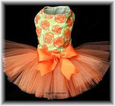 Dog Tutu Dress Orange Roses XXS XS or Small by DoggieDivaBoutique, $41.99