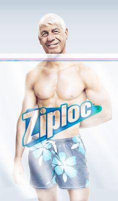 해외)지퍼백광고.신선함을 유지해준다는 점을 노인의 얼굴과 젊고 탱탱한 근육을가진 몸에 대비하여 유머틱하게 표현했다.
