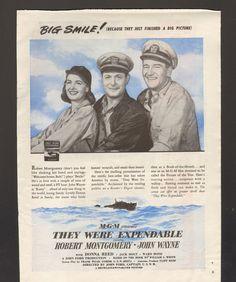 1946 Print Advertisement Movie They Were Expendanble John Wayne Montgomery - Advintage Plus