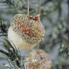 Glittered Acorn Christmas ornaments set of five by AnnaBelleArts