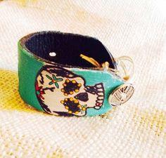 Dia de los Muertos Sugar Skull   Leather Bracelet      Hand Painted Jewelry on Etsy, $22.00