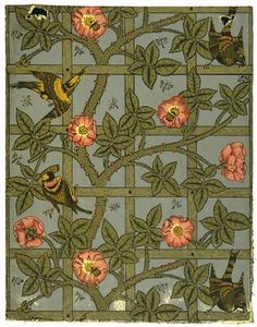 Morris's first wallpaper design was Trellis, a pattern suggested by the rose-trellis in the garden of his house in Bexlevheath, Kent. Designed in 1862, it was not issued until 1864, a delay that was due to Morris's unsuccessful experiments with printing from zinc plates. The first pattern to be issued, in 1864, was Daisy, a simple design of naively drawn meadow flowers. The source was a (more...)