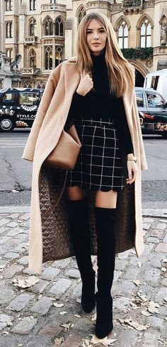 #winter #fashion Autumn outfit with a beige coat Black skirt with white plaid with high boots