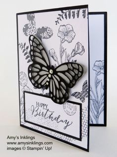 Stampin' Up! ... handmade birthday card ... shades of gray ... collage stamping topped with large die cut butterfly ... great composition ...