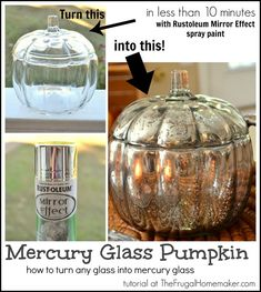 DIY Mercury Glass Pumpkin tutorial - create your own mercury glass using spray paint! - If I could find glass candle holders I could do this for center pieces Fall Crafts, Holiday Crafts, Crafts To Make, Holiday Fun, Diy Crafts, Fröhliches Halloween, Do It Yourself Inspiration, Do It Yourself Jewelry, Glass Pumpkins