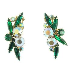 Vintage Unsigned Emerald Green & Aurora Borealis Clip Earrings
