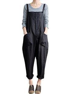 a7e01fe04ad5 Lncropo Women Large Plus Size Baggy Overalls Casual Wide Leg Pants  Sleeveless Rompers Jumpsuit Vintage Haren Overalls Black-button)