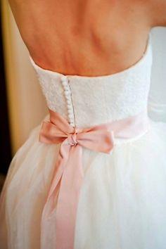 blush bow wedding dress